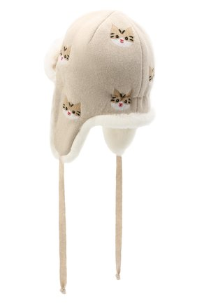 Детского шапка-ушанка CHOBI бежевого цвета, арт. WH-3020   Фото 2