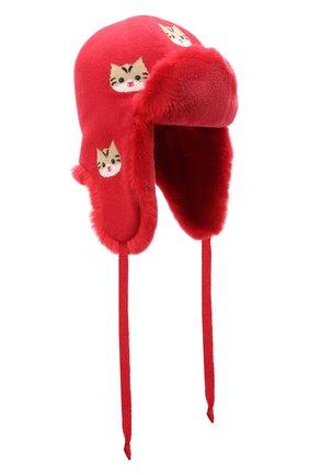 Детского шапка-ушанка CHOBI красного цвета, арт. WH-3020 | Фото 1