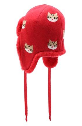 Детского шапка-ушанка CHOBI красного цвета, арт. WH-3020 | Фото 2
