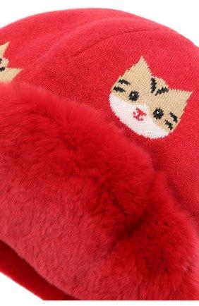 Детского шапка-ушанка CHOBI красного цвета, арт. WH-3020 | Фото 3