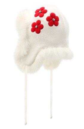 Детского шапка-ушанка CHOBI белого цвета, арт. WH-3075 | Фото 2