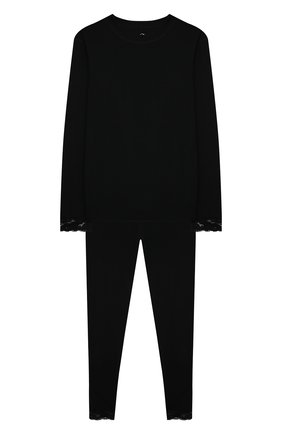 Детская комплект из лонгслива и брюк WOOL&COTTON черного цвета, арт. BJGFPK | Фото 1