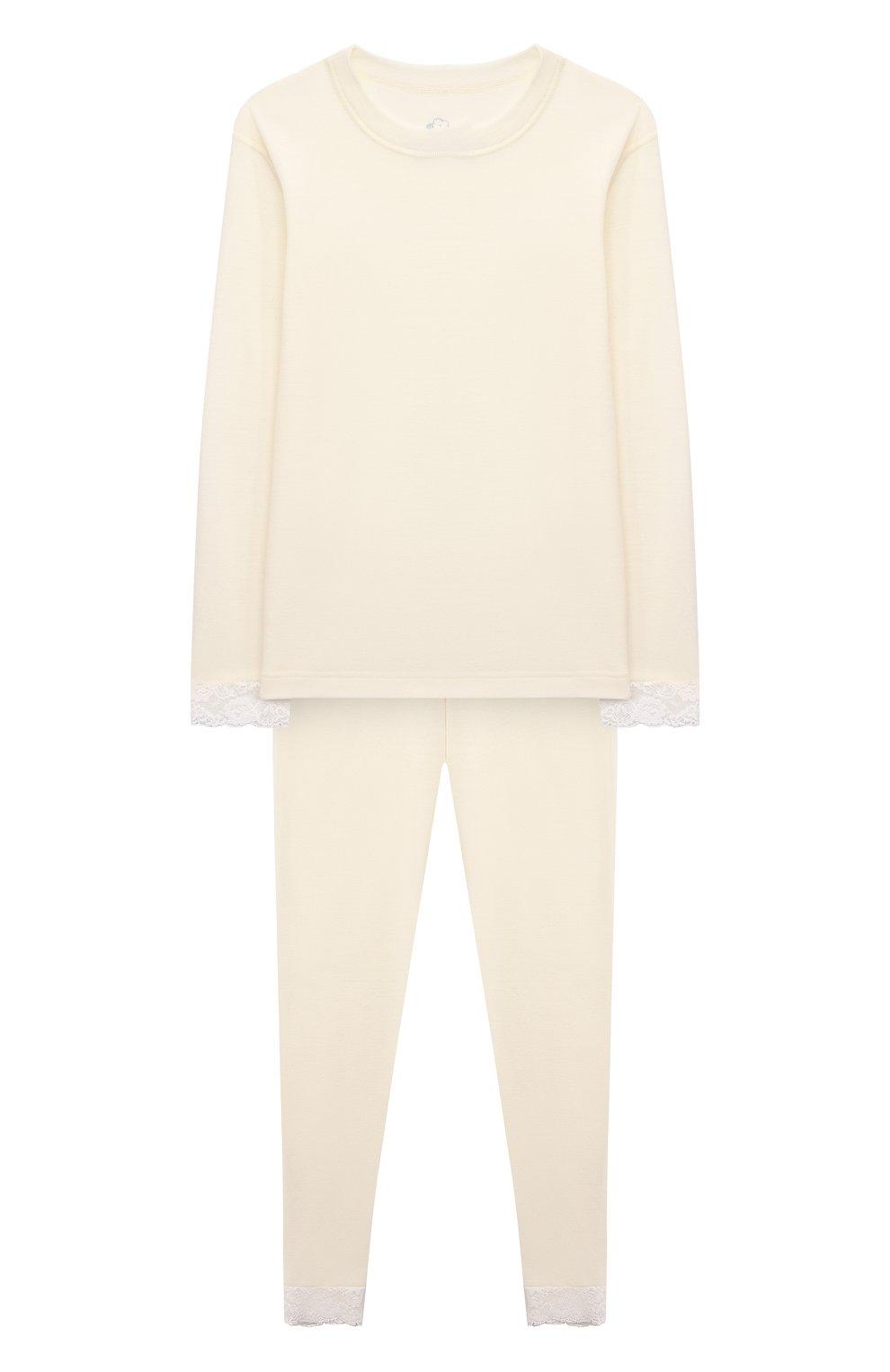 Детская комплект из лонгслива и брюк WOOL&COTTON бежевого цвета, арт. BJGFPK   Фото 1