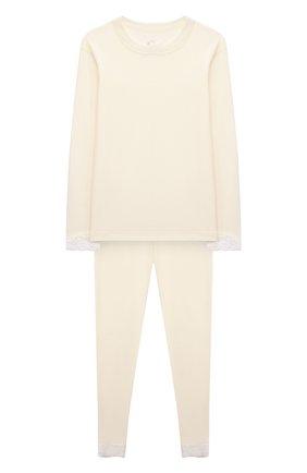 Детская комплект из лонгслива и брюк WOOL&COTTON бежевого цвета, арт. BJGFPK | Фото 1