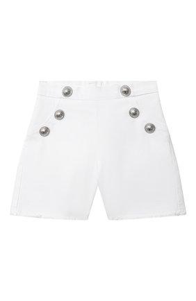 Детские джинсовые шорты BALMAIN белого цвета, арт. 6M6169 | Фото 1