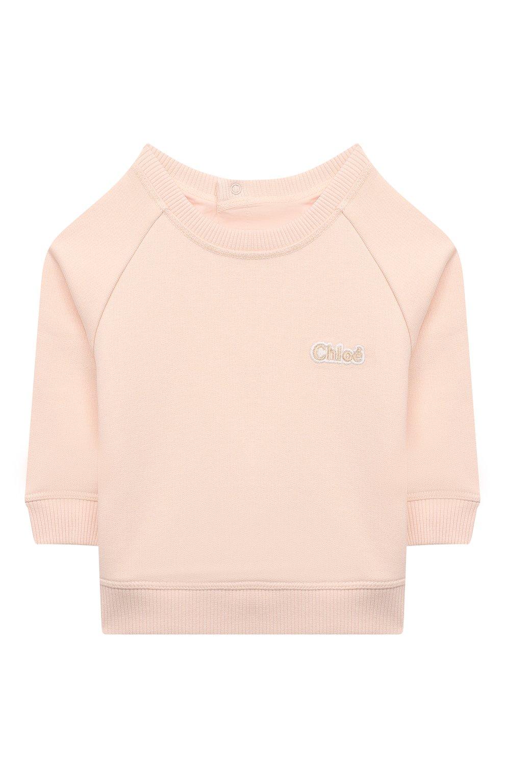 Детский хлопковый свитшот CHLOÉ розового цвета, арт. C05373 | Фото 1