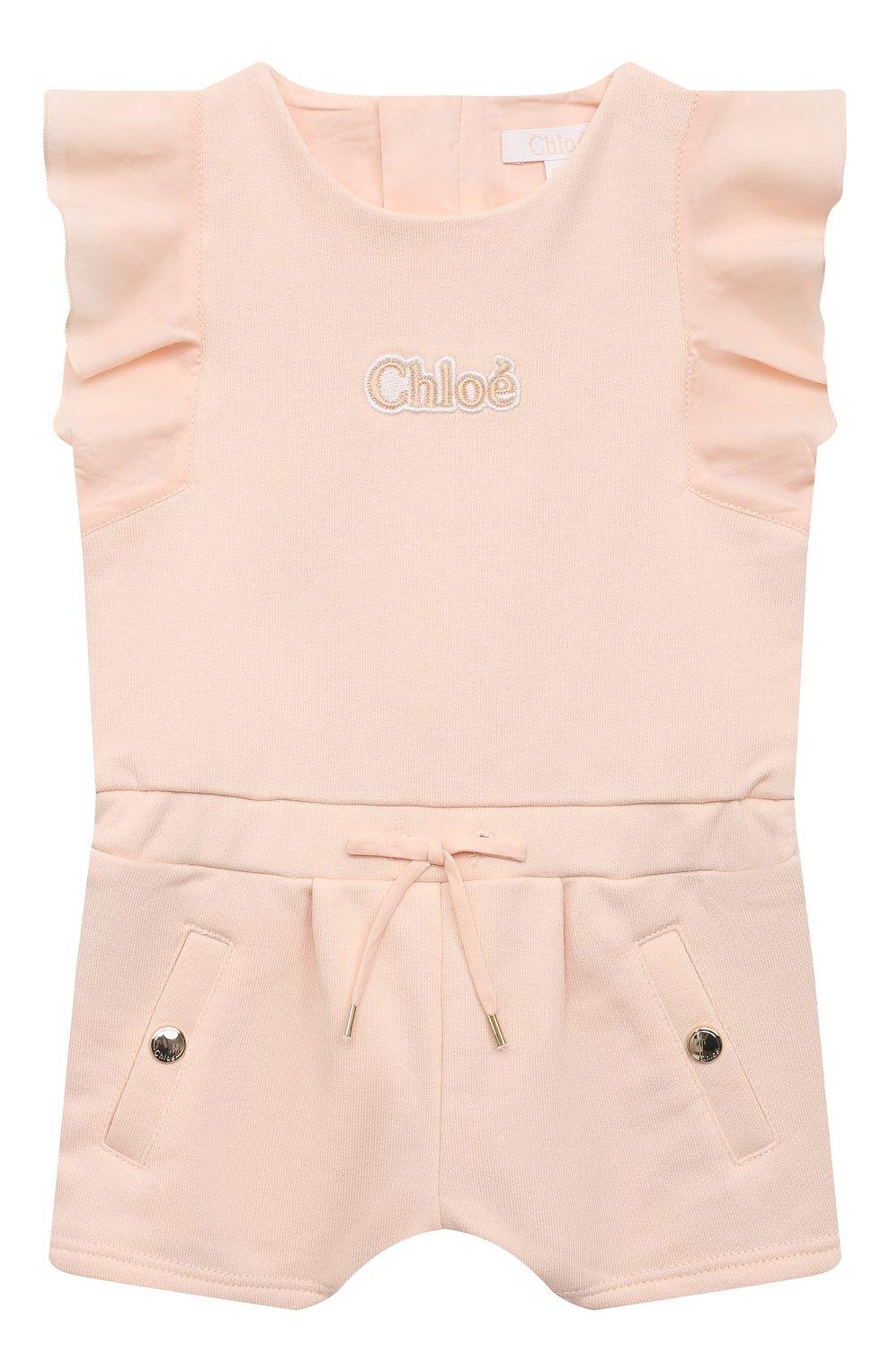 Детский хлопковый комбинезон CHLOÉ розового цвета, арт. C04181 | Фото 1
