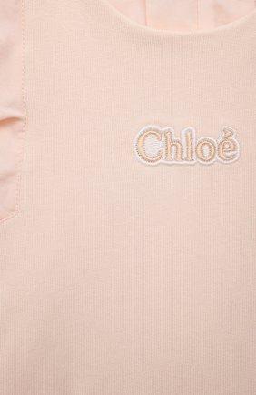 Детский хлопковый комбинезон CHLOÉ розового цвета, арт. C04181 | Фото 3