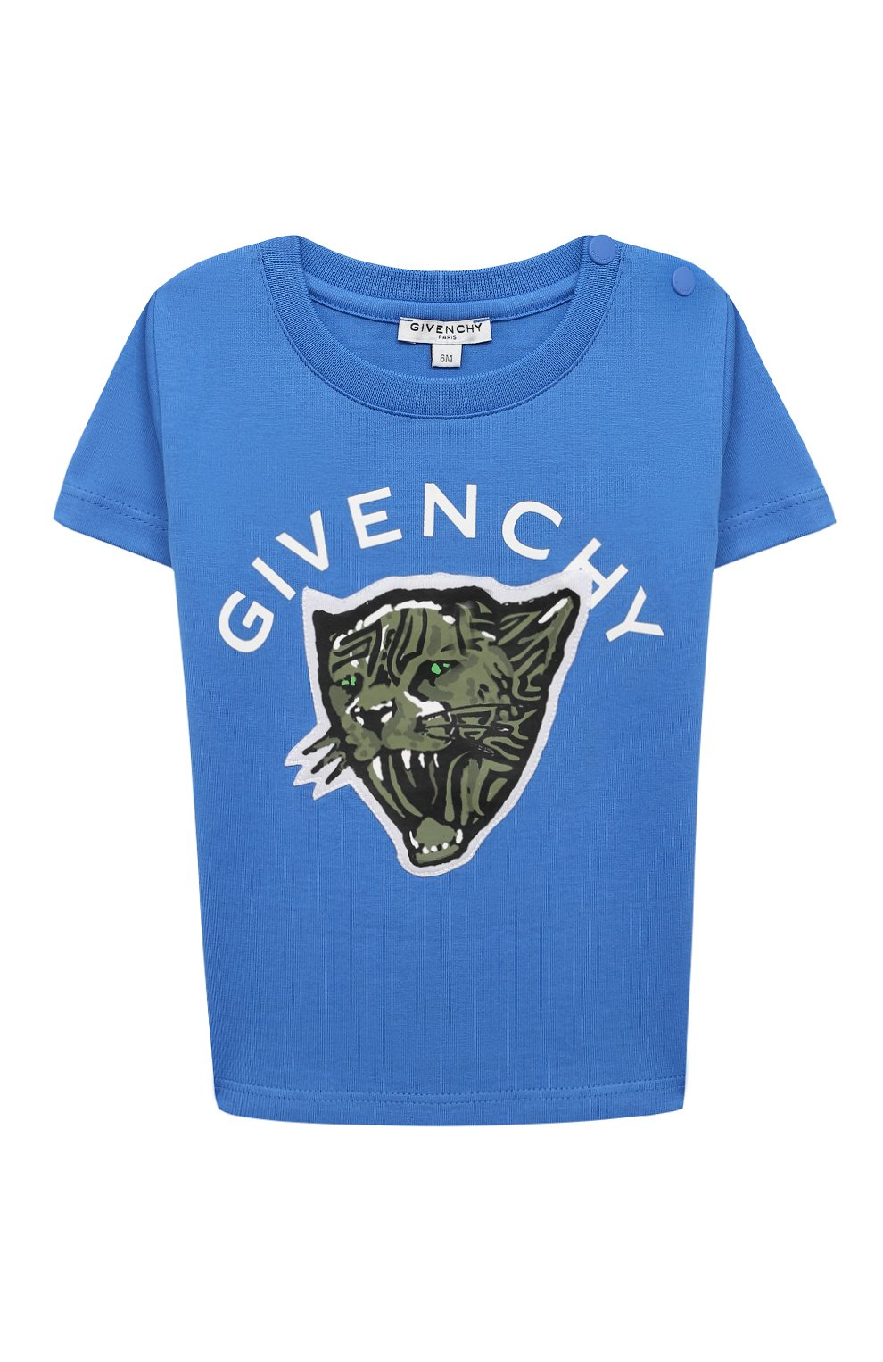 Детский хлопковая футболка GIVENCHY синего цвета, арт. H05162 | Фото 1