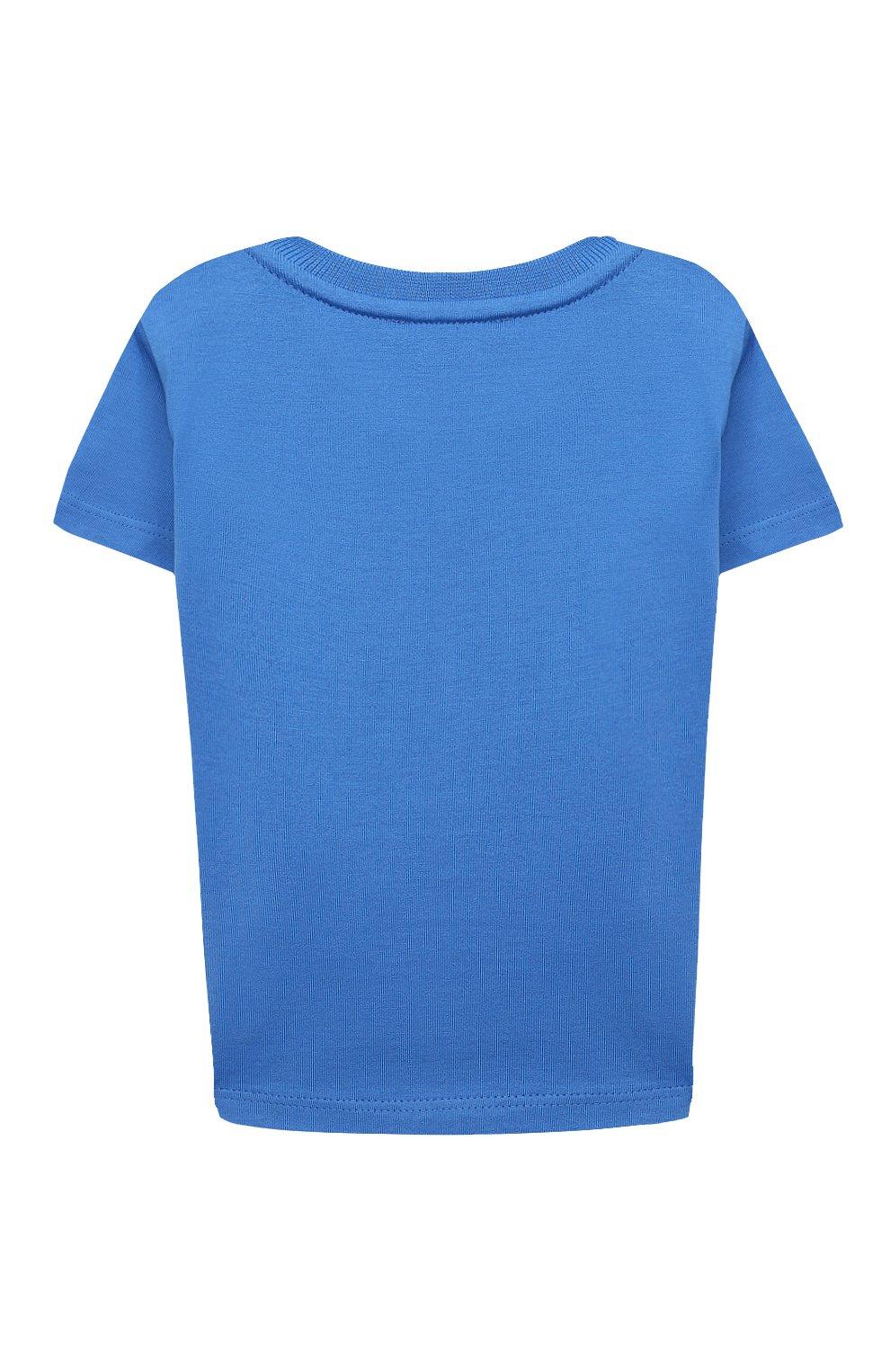 Детский хлопковая футболка GIVENCHY синего цвета, арт. H05162 | Фото 2