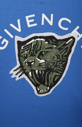 Детский хлопковая футболка GIVENCHY синего цвета, арт. H05162 | Фото 3