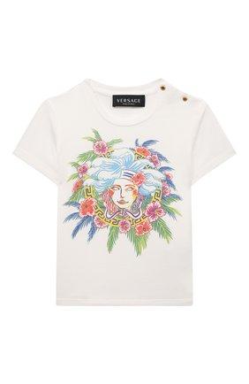 Детский хлопковая футболка VERSACE белого цвета, арт. 1000152/1A00120 | Фото 1