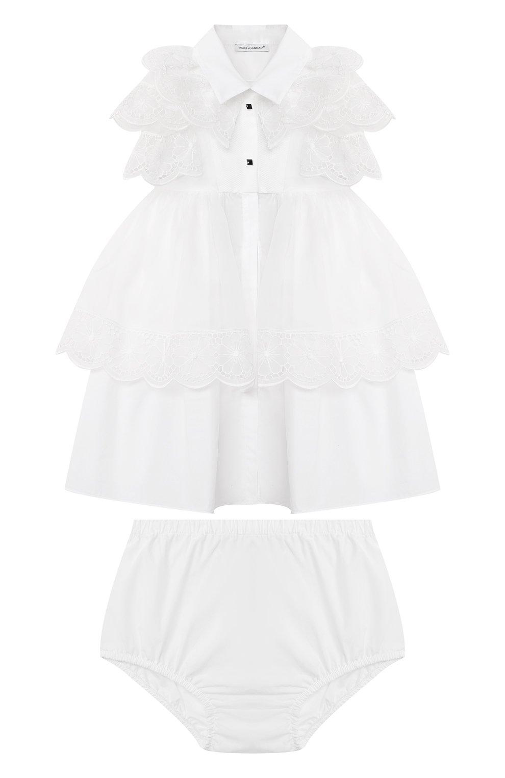 Женский комплект из платья и шорт DOLCE & GABBANA белого цвета, арт. L22DQ9/G7XUG   Фото 1