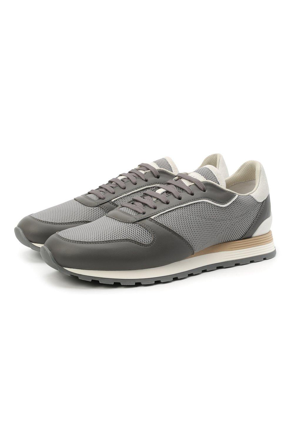 Мужские комбинированные кроссовки BRUNELLO CUCINELLI серого цвета, арт. MZUJBRA270 | Фото 1