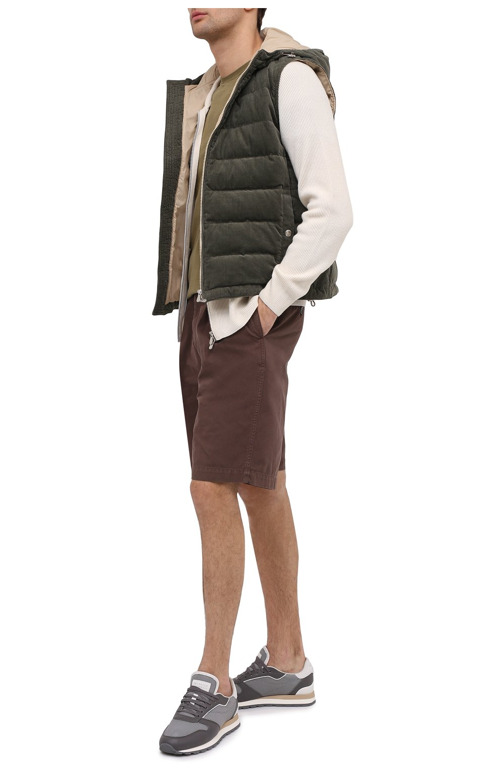 Мужские комбинированные кроссовки BRUNELLO CUCINELLI серого цвета, арт. MZUJBRA270 | Фото 2
