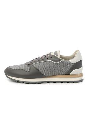 Мужские комбинированные кроссовки BRUNELLO CUCINELLI серого цвета, арт. MZUJBRA270 | Фото 3