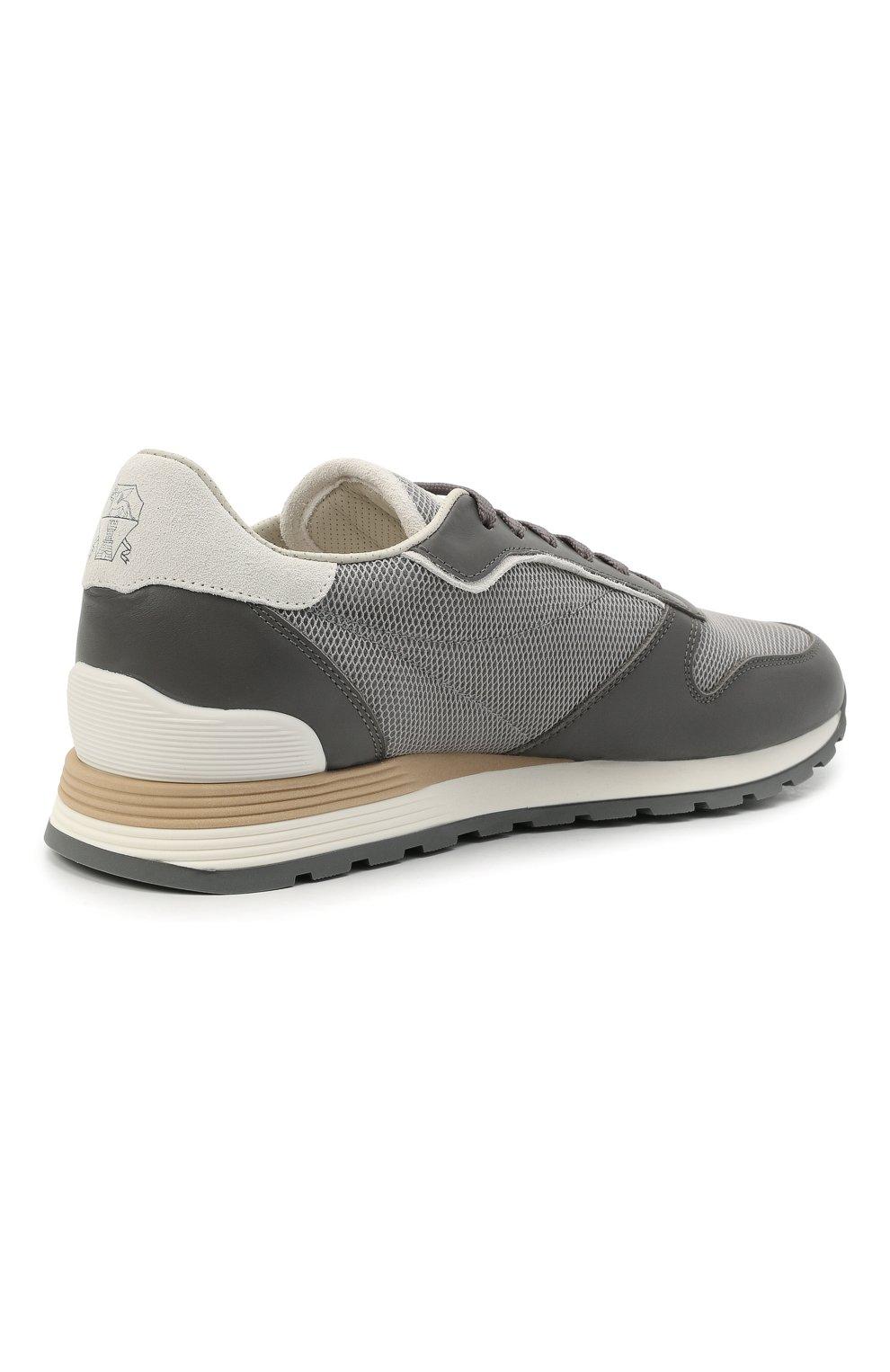 Мужские комбинированные кроссовки BRUNELLO CUCINELLI серого цвета, арт. MZUJBRA270 | Фото 4
