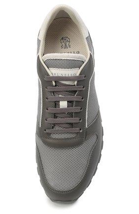 Мужские комбинированные кроссовки BRUNELLO CUCINELLI серого цвета, арт. MZUJBRA270 | Фото 5