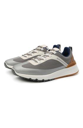 Мужские комбинированные кроссовки BRUNELLO CUCINELLI серого цвета, арт. MZUTBH0255 | Фото 1