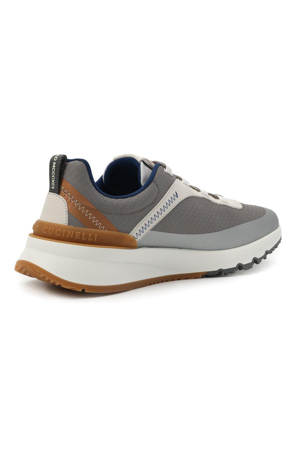 Мужские комбинированные кроссовки BRUNELLO CUCINELLI серого цвета, арт. MZUTBH0255   Фото 4