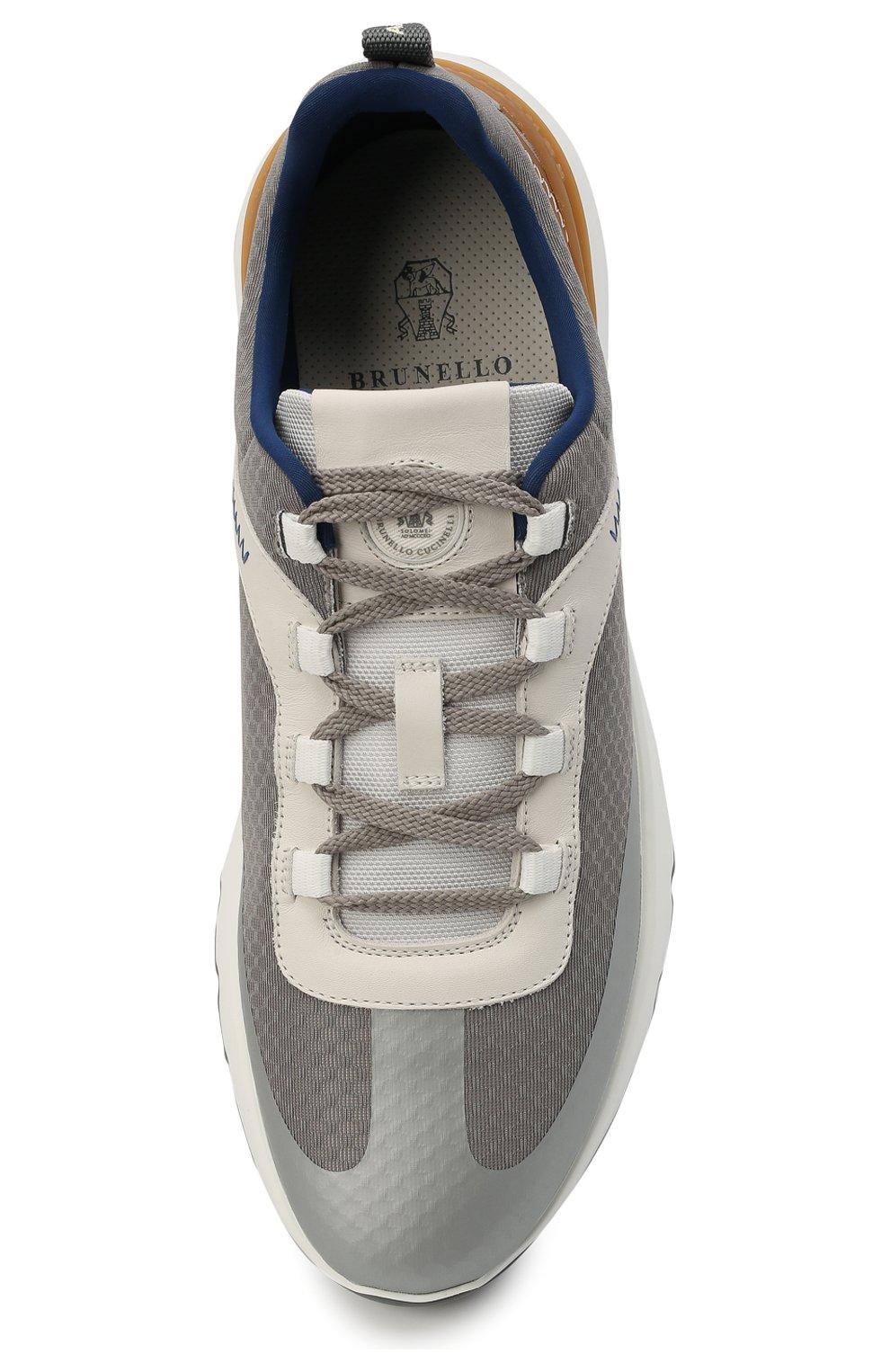 Мужские комбинированные кроссовки BRUNELLO CUCINELLI серого цвета, арт. MZUTBH0255   Фото 5