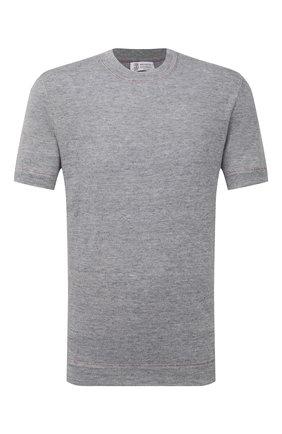 Мужская футболка изо льна и хлопка BRUNELLO CUCINELLI серого цвета, арт. M2L12620 | Фото 1 (Материал внешний: Лен; Рукава: Короткие; Стили: Кэжуэл; Принт: Без принта; Длина (для топов): Стандартные)