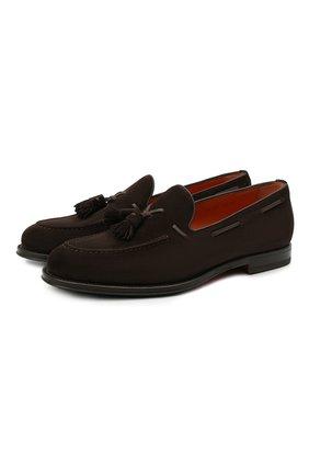 Мужские замшевые лоферы SANTONI темно-коричневого цвета, арт. MCCL17111RG1IR0VT50 | Фото 1 (Материал внутренний: Натуральная кожа; Мужское Кросс-КТ: Лоферы-обувь; Стили: Классический; Материал внешний: Замша)