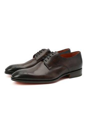 Мужские кожаные дерби SANTONI темно-коричневого цвета, арт. MCCR17633JC6I0BRT53 | Фото 1 (Материал внутренний: Натуральная кожа; Стили: Классический)