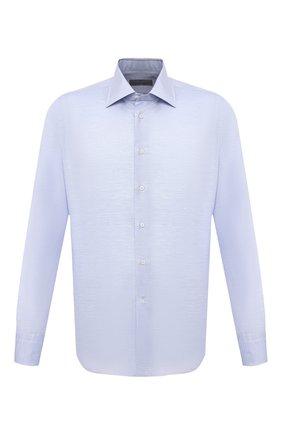 Мужская сорочка из хлопка и льна CANALI голубого цвета, арт. 705/GA01860 | Фото 1