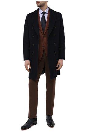 Мужская сорочка из хлопка и льна CANALI синего цвета, арт. NX05/GR02297   Фото 2 (Материал внешний: Хлопок, Лен; Принт: Клетка; Длина (для топов): Стандартные; Стили: Классический; Рукава: Длинные; Воротник: Кент; Рубашки М: Slim Fit; Манжеты: На пуговицах; Случай: Формальный)