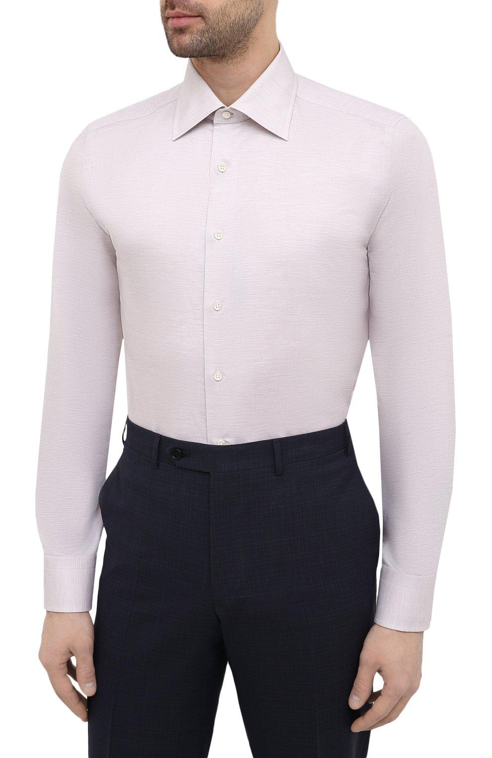 Мужская сорочка из хлопка и льна CANALI бежевого цвета, арт. 705/GA01860   Фото 3
