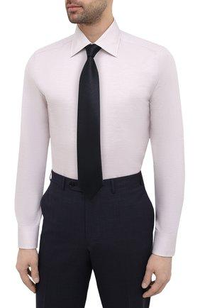 Мужская сорочка из хлопка и льна CANALI бежевого цвета, арт. 705/GA01860   Фото 4