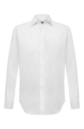 Мужская хлопковая сорочка CANALI белого цвета, арт. 705/GD02301 | Фото 1 (Длина (для топов): Стандартные; Материал внешний: Хлопок; Рубашки М: Regular Fit; Рукава: Длинные; Манжеты: На пуговицах; Случай: Формальный; Воротник: Кент; Принт: Однотонные; Стили: Классический)