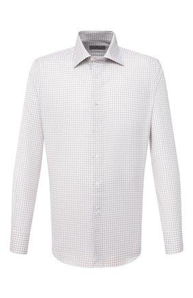 Мужская сорочка из хлопка и льна CANALI хаки цвета, арт. N705/GR02297   Фото 1