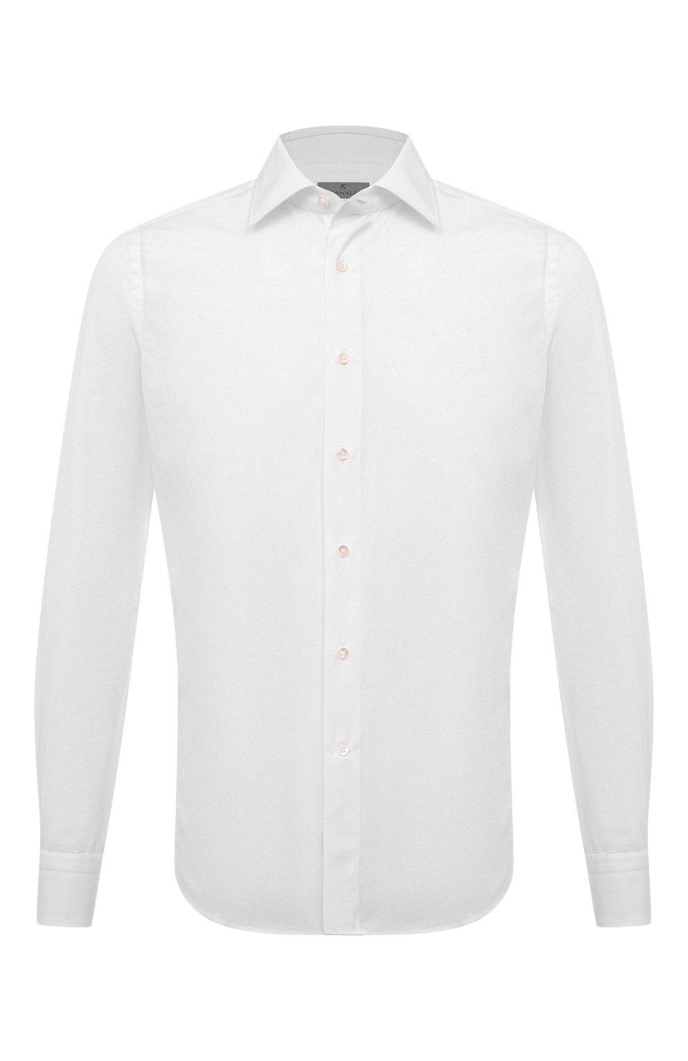 Мужская хлопковая сорочка CANALI белого цвета, арт. X05/GA60130 | Фото 1