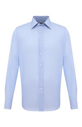 Мужская хлопковая сорочка CANALI голубого цвета, арт. X05/GD02301   Фото 1 (Случай: Формальный; Воротник: Кент; Материал внешний: Хлопок; Длина (для топов): Стандартные; Рубашки М: Regular Fit; Манжеты: На пуговицах; Принт: Однотонные; Рукава: Длинные; Стили: Классический)