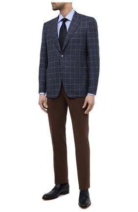 Мужская хлопковая сорочка CANALI голубого цвета, арт. X05/GD02301   Фото 2 (Случай: Формальный; Воротник: Кент; Материал внешний: Хлопок; Длина (для топов): Стандартные; Рубашки М: Regular Fit; Манжеты: На пуговицах; Принт: Однотонные; Рукава: Длинные; Стили: Классический)