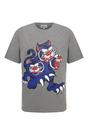 Мужская хлопковая футболка kenzo x kansai yamamoto KENZO серого цвета, арт. FB55TS0714SJ | Фото 1 (Принт: С принтом; Рукава: Короткие; Стили: Гранж; Материал внешний: Хлопок; Длина (для топов): Стандартные)