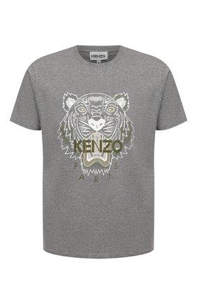 Мужская хлопковая футболка KENZO серого цвета, арт. FB55TS0204YA | Фото 1 (Рукава: Короткие; Материал внешний: Хлопок; Длина (для топов): Стандартные; Стили: Спорт-шик, Гранж; Принт: С принтом)
