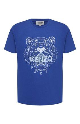 Мужская хлопковая футболка KENZO синего цвета, арт. FB55TS0204YA | Фото 1