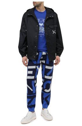 Мужская хлопковая футболка KENZO синего цвета, арт. FB55TS0204YA | Фото 2