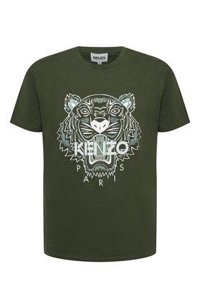 Мужская хлопковая футболка KENZO хаки цвета, арт. FB55TS0204YA | Фото 1