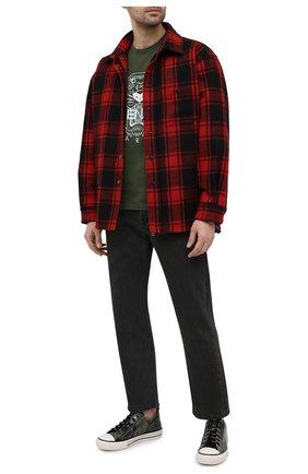 Мужская хлопковая футболка KENZO хаки цвета, арт. FB55TS0204YA | Фото 2