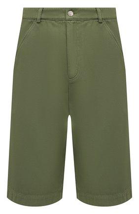 Мужские хлопковые шорты KENZO хаки цвета, арт. FB55SH2125AA   Фото 1 (Принт: Без принта; Стили: Кэжуэл; Длина Шорты М: Ниже колена; Мужское Кросс-КТ: Шорты-одежда; Материал внешний: Хлопок)