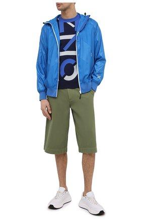 Мужские хлопковые шорты KENZO хаки цвета, арт. FB55SH2125AA   Фото 2 (Принт: Без принта; Стили: Кэжуэл; Длина Шорты М: Ниже колена; Мужское Кросс-КТ: Шорты-одежда; Материал внешний: Хлопок)