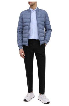 Мужская хлопковая рубашка KENZO голубого цвета, арт. FB55CH4001LD | Фото 2 (Стили: Кэжуэл; Рукава: Длинные; Рубашки М: Classic Fit; Случай: Повседневный; Материал внешний: Хлопок; Длина (для топов): Стандартные; Манжеты: На пуговицах; Воротник: Button down; Принт: Однотонные)