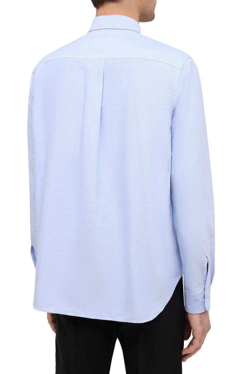 Мужская хлопковая рубашка KENZO голубого цвета, арт. FB55CH4001LD   Фото 4 (Манжеты: На пуговицах; Воротник: Button down; Рукава: Длинные; Рубашки М: Classic Fit; Случай: Повседневный; Длина (для топов): Стандартные; Материал внешний: Хлопок; Принт: Однотонные; Стили: Кэжуэл)