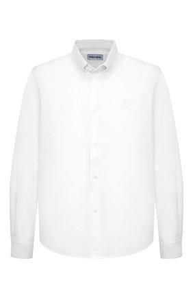 Мужская хлопковая рубашка KENZO белого цвета, арт. FB55CH4001LD | Фото 1 (Длина (для топов): Стандартные; Рубашки М: Classic Fit; Рукава: Длинные; Случай: Повседневный; Материал внешний: Хлопок; Стили: Кэжуэл; Воротник: Button down; Принт: Однотонные; Манжеты: На пуговицах)