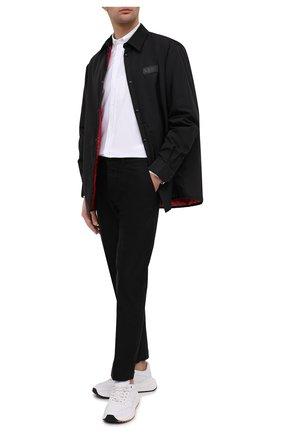Мужская хлопковая рубашка KENZO белого цвета, арт. FB55CH4001LD | Фото 2 (Длина (для топов): Стандартные; Рубашки М: Classic Fit; Рукава: Длинные; Случай: Повседневный; Материал внешний: Хлопок; Стили: Кэжуэл; Воротник: Button down; Принт: Однотонные; Манжеты: На пуговицах)