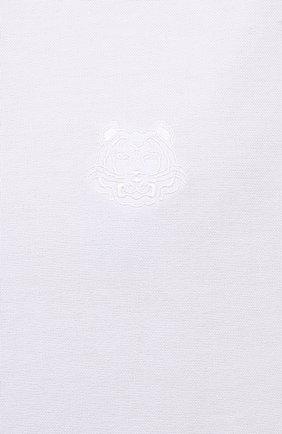 Мужская хлопковая рубашка KENZO белого цвета, арт. FB55CH4001LD   Фото 5 (Манжеты: На пуговицах; Воротник: Button down; Рукава: Длинные; Рубашки М: Classic Fit; Случай: Повседневный; Длина (для топов): Стандартные; Материал внешний: Хлопок; Принт: Однотонные; Стили: Кэжуэл)